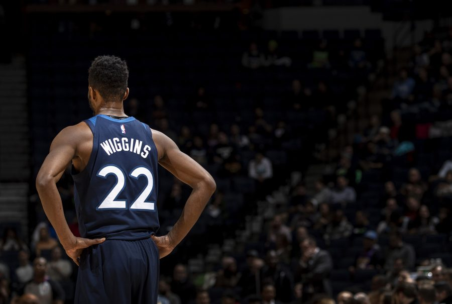 The Minnesota Timberwolves' Andrew Wiggins (22) in the second quarter against the Atlanta Hawks at Target Center in Minneapolis on Wednesday, Feb. 5, 2020. (Carlos Gonzalez/Minneapolis Star Tribune/TNS)