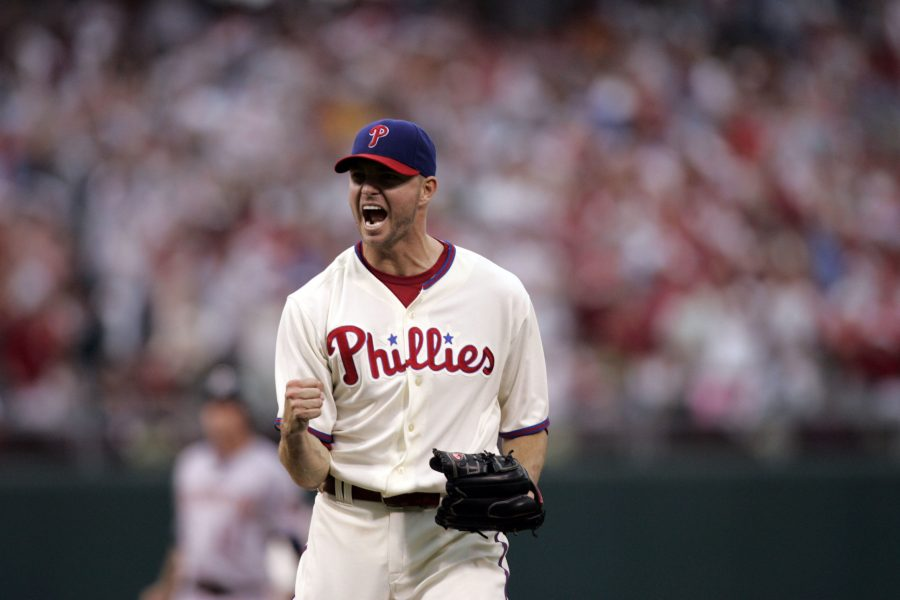 Philadelphia Phillies Ryan Madson celebrates after he closed out the eighth inning against the Washington Nationals at Lincoln Financial Field in Philadelphia, Pennsylvania, on Saturday, September 27, 2008. The Phillies clinched the NL East title after defeating the Washington Nationals 4-3. (Michael Perez/Philadelphia Inquirer/MCT)