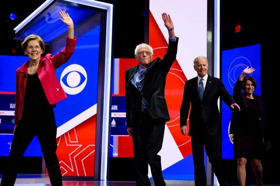 Democratic presidential candidates Elizabeth Warren, Bernie Sanders, Joe Biden and Amy Klobuchar walk onto the stage during the South Carolina Democratic debate in Charleston o Feb. 25, 2020. [Josh Morgan/The Greenville News via Imagn]