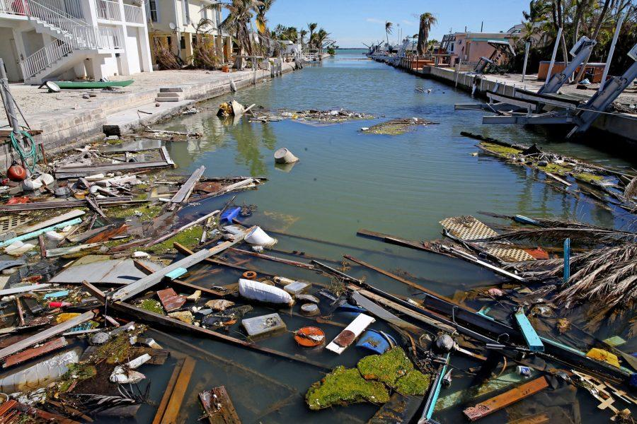 Debris in a canal on Big Pine Key in the Florida Keys, Jan. 18, 2018. The Army Corps of Engineers recently outlined a $3 billion strategy to defend the Keys from future hurricanes and sea level rise. (Charles Trainor Jr./Miami Herald/TNS)