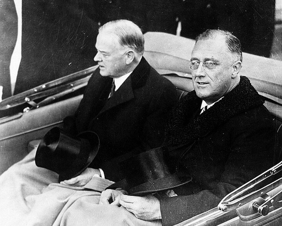 President-elect Franklin Delano Roosevelt, right, and President Herbert Hoover ride in convertible automobile on its way to the U.S. Capitol for Roosevelt's inauguration in Washington, D.C., March 4, 1933. (Architect of the Capitol/Library of Congress/MCT)