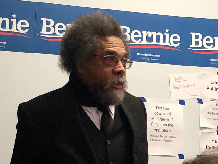 Bernie Sanders campaign co-chair and longtime racial justice scholar Cornel West shows up at the Nashua, N.H., area Sanders field office where some 50 volunteers were preparing to go knock on doors. He launched into a riff that zagged from motivational to angry to defiant in the space of 12 minutes. It was the first of several such stops he would make on February 11, 2020. (Evan Halper/Los Angeles Times/TNS)