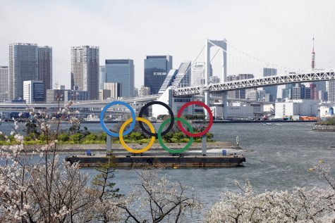 A view of the Olympic rings monument Tuesday at Rainbow Bridge, Odaiba, Tokyo. The IOC announced this week that the 2020 Tokyo Games have been postponed due to the coronavirus pandemic. [Yukihito Taguchi/USA TODAY Sports]