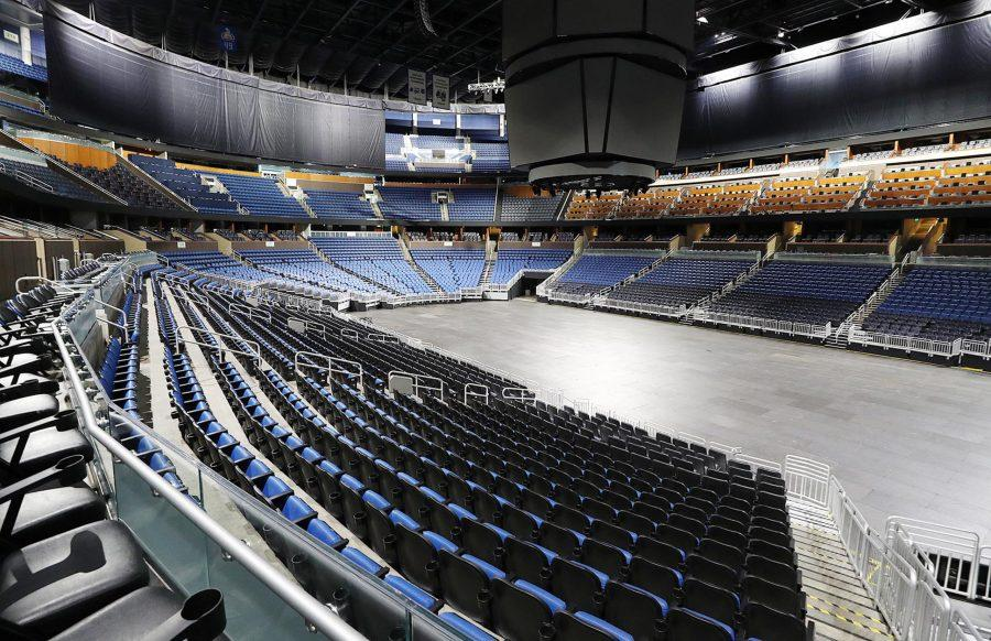 The seats are empty at the Amway Center in Orlando, home of the NBA's Orlando Magic, on Thursday, March 12, 2020. The NBA has suspended the season due to the coronavirus -- as have other sports. (Stephen M. Dowell/Orlando Sentinel/TNS)
