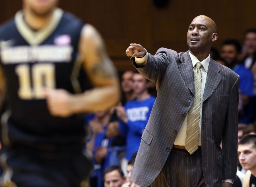 Mar 1, 2016; Durham, NC, USA; Wake Forest Demon Deacons head coach Danny Manning gives instructions to his players in their game against the Duke Blue Devils at Cameron Indoor Stadium. Mandatory Credit: Mark Dolejs-USA TODAY Sports