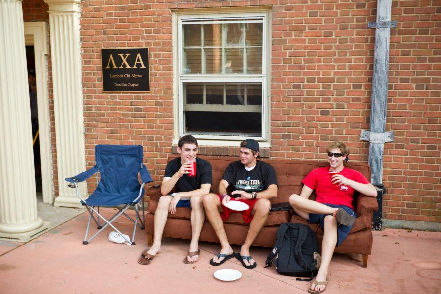 Members of the Lambda Chi Alpha fraternity gather outside the fraternity lounge in Davis Residence on the campus of Wake Forest University on Friday, September 17, 2010, to relax at the end of the week.
