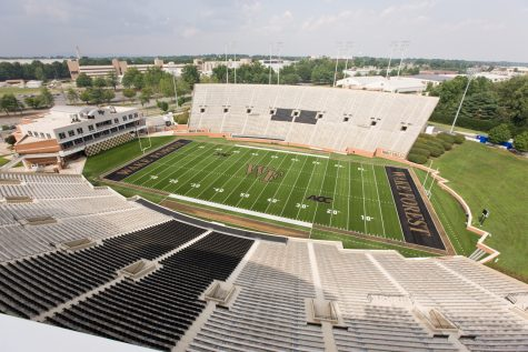 Construction work continues at Deacon Tower, the Wake Forest University football facility at BB&T Field, on Tuesday, July 29, 2008.  A view of the stadium from the roof level.