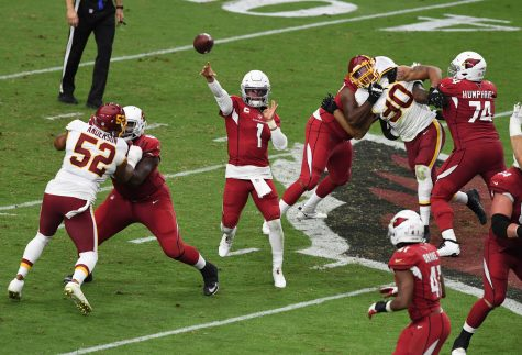 Kyler Murray #1 of the Arizona Cardinals throws the ball down field against the Washington Football Team during the fourth quarter at State Farm Stadium on Sept. 20, 2020 in Glendale, Arizona. Cardinals won 30-15. (Norm Hall/Getty Images/TNS)