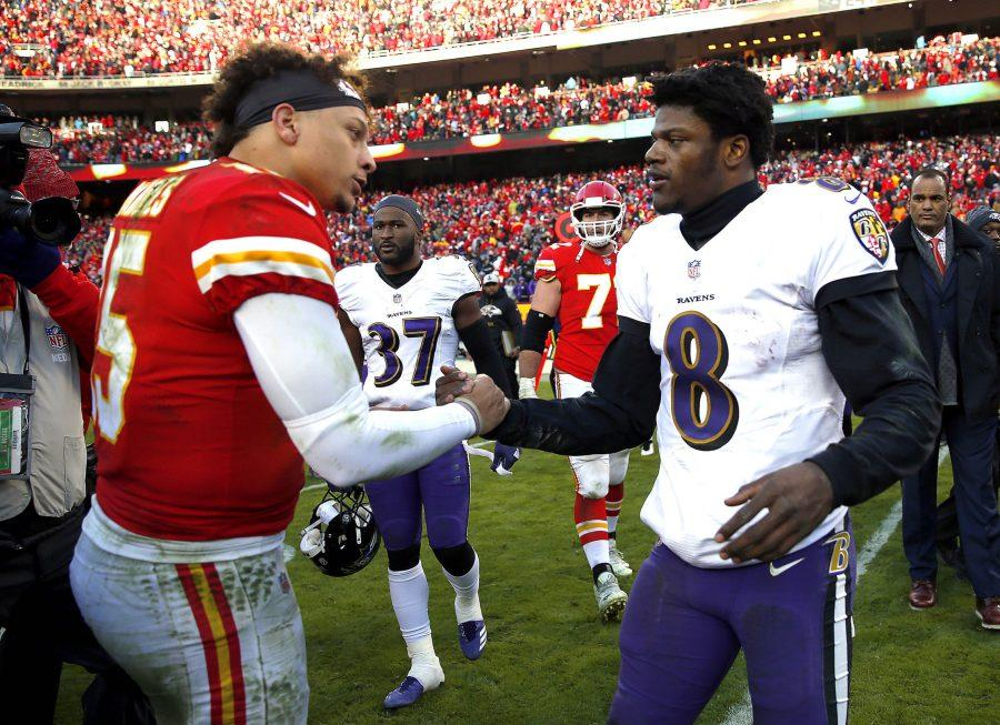 In this file photo, quarterback Patrick Mahomes (15) of the Kansas City Chiefs shakes hands with quarterback Lamar Jackson (8) of the Baltimore Ravens after the Chiefs defeated the Ravens 27-24 in overtime to win the game at Arrowhead Stadium in December, 2018 in Kansas City, Missouri. (Jamie Squire/Getty Images/TNS)