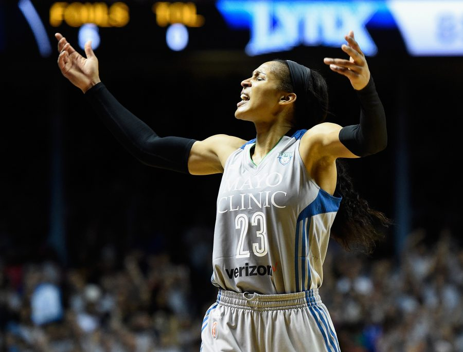Maya+Moore+of+the+Minnesota+Lynx+pumps+up+the+crowd+in+the+final+minute+of+Game+Five+of+the+WNBA+Finals+against+the+Los+Angeles+Sparks+on+October+4%2C+2017%2C+in+Minneapolis.+%28Hannah+Foslien%2FGetty+Images%2FTNS%29