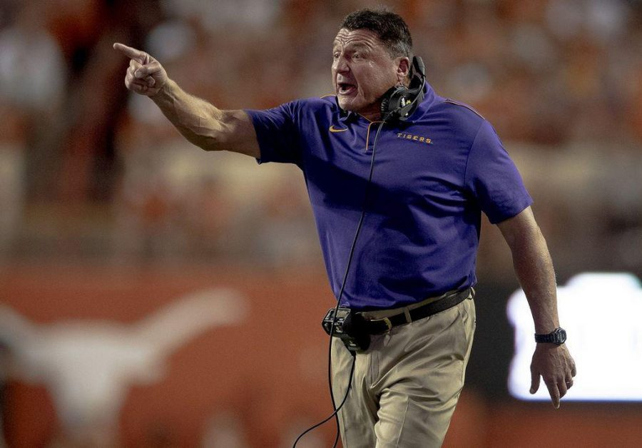 LSU head coach Ed Orgeron shouts to his players during an NCAA football game against Texas on Saturday, Sept. 7, 2019, in Austin, Texas. (Nick Wagner/Austin American-Statesman/TNS)