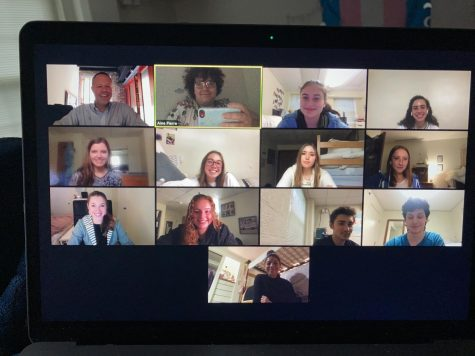 A Wake Forest Choirs ensemble meets over Zoom following a recording last Friday (Aine Pierre/Old Gold & Black)