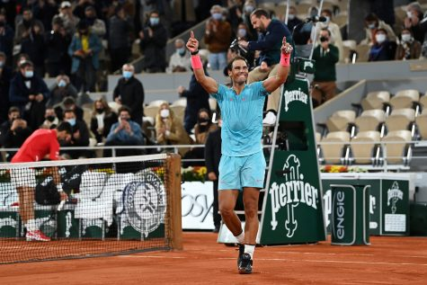 Rafael Nadal of Spain celebrates after winning championship point during his Men's Singles Final against Novak Djokovic of Serbia on day 15 of the 2020 French Open at Roland Garros on Sunday, Oct. 11, 2020 in Paris, France. (Shaun Botterill/Getty Images/TNS)