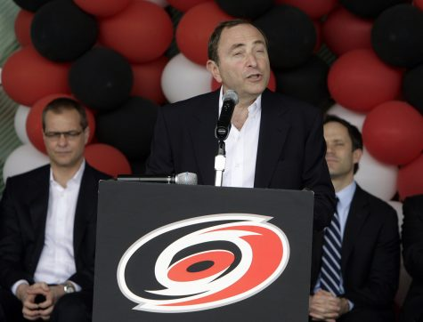 NHL Commissioner Gary Bettman, center, announces that the NHL All-Star game will be played in Raleigh, North Carolina in 2011 during a press conference held outside of the RBC Center on Thursday, April 8, 2010. (Chris Seward/Raleigh News & Observer/MCT)