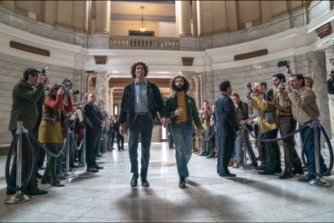 The film stars  Hollywood icons Sacha Baron Cohen, Joseph Gordon-Levit, Michael Keaton, Eddie Redmayne and many more. It follows the trial of eight war protesters during the late 1960s