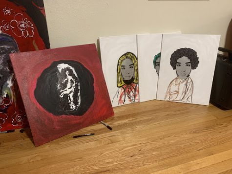 Here is a collection of unfinished works that are part of a series Salviadore is working on called Thip Thav. Salviadore is trying to sell more of their art, and are collaborating with fellow student David Wrona (Khushi Arya/Old Gold & Black)