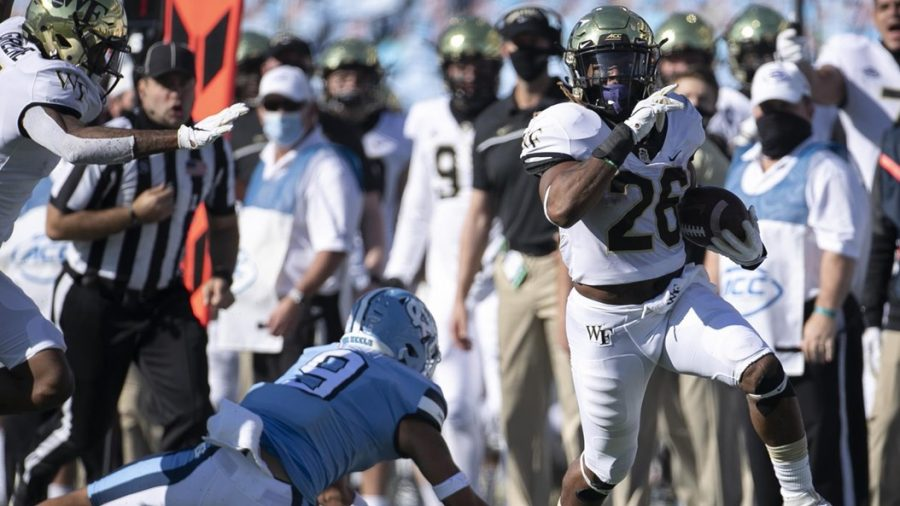Deacs RB Christian Beal-Smith rushed for 120 yards on Saturday afternoon (Photo courtesy of @WakeFB/Twitter)