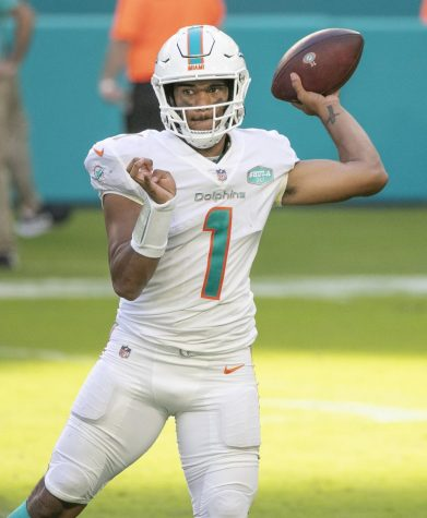 Tua Tagovailoa threw his first NFL touchdown pass on Sunday (Charles Trainor Jr./Miami Herald/TNS)