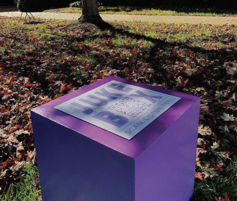 Students can scan the QR code on top of each box placed strategically around Hearn Plaza to add songs to and listen to the playlist. Follow the project on Instagram to stay up to date with new additions (Photo courtesy of @jukebox_therapy_ on Instagram)