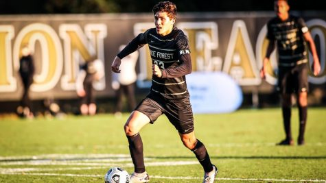 Centerback and sophomore Nico Benalcazar has played a monumental role in the Deacon's defensive successes this season (Photo courtesy of  Wake Forest Men's Soccer Twitter)