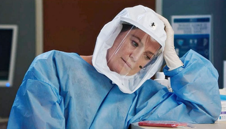 Meredith Grey, played by Ellen Pompeo, is dressed in the hospital's COVID-19 gear, as the show picks up a plot line that veers much too close to reality (Photo courtesy of imdb.com)