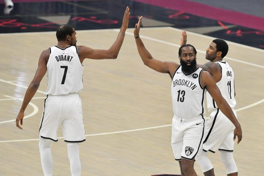 James+Harden+joins+Kevin+Durant+and+Kyrie+Irving+on+the+star-studded+Brooklyn+Nets+team+coached+by+Steve+Nash.