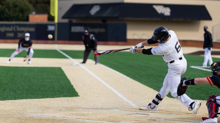 Sophomore infielder Michael Turconi batting against Notre Dame. Turconi has 12 hits in 29 plate appearances, good for a .414 batting average. He has started all of Wake Forest
