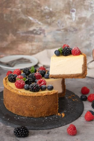 Cheesecake is best served after being heated up for a small amount of time to the point where it is warm, soft and gooey.