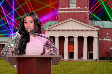 Pop and R&B star Cardi B. pays a visit to Wake Forest's campus. Where does she choose to stop first? None other than Wait Chapel. The strobe lights behind the chapel were put there especially for her.