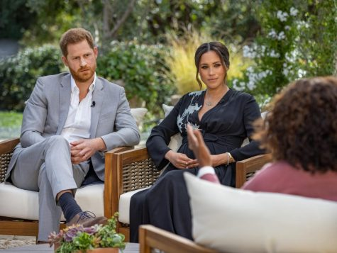Meghan Markle and Prince Harry sit with  telivision host, Oprah Winfrey, during a two-hour  interview in California. The couple reveals aspects of their private life previously unknown to the public.