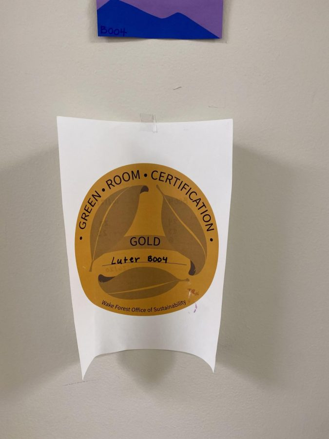 Those who take the Green Room Challenge's two surveys are awarded a score, and based on that score, receive a plaque on their door.
