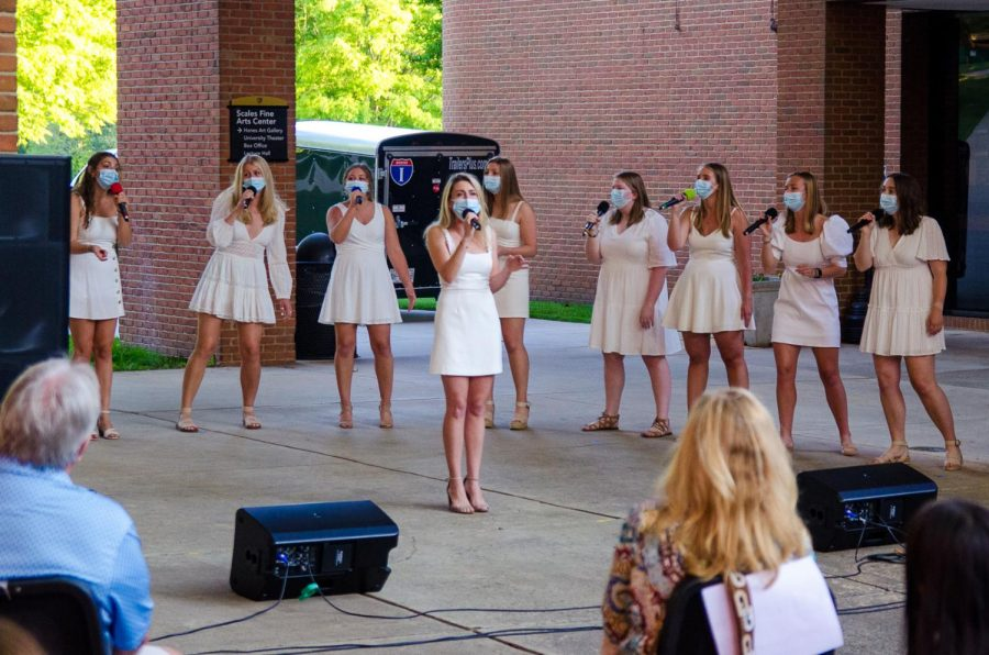 """Our energy was on fire because it was our first performance,"" said Demon Divas President Marie Anderson ('21). The Divas performed in the Scales Breezeway Tuesday night at 6:30 p.m."