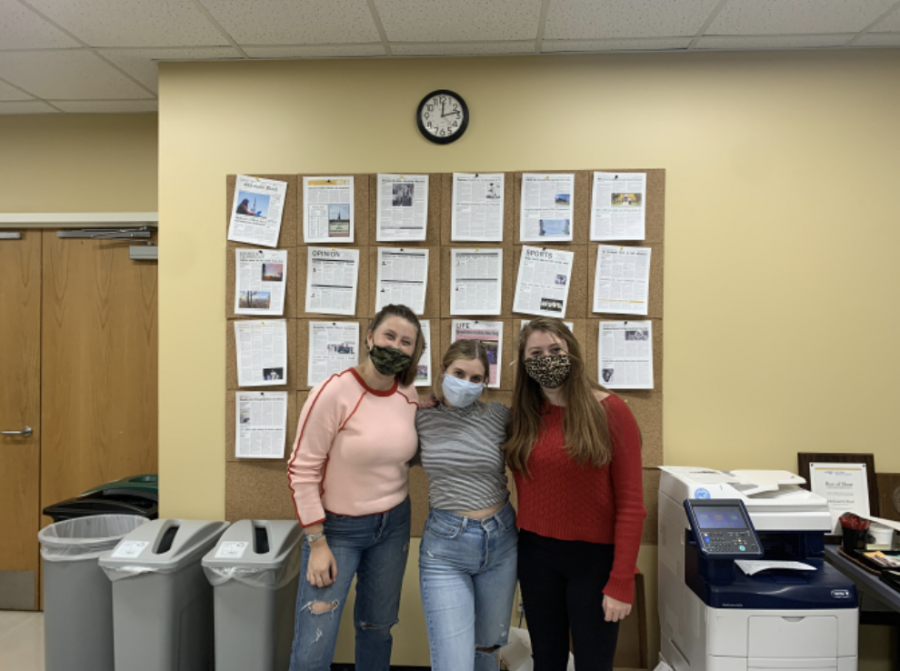 Field poses with her fellow executive editors, Emily Beauchamp and Elizabeth Maline, after the completion of the Fall 2020 Semester