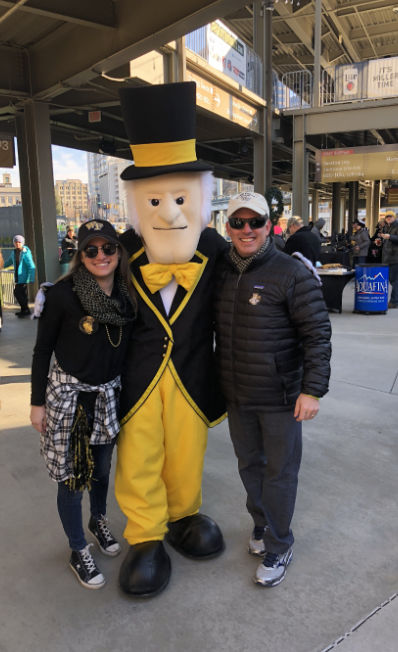 Wexler with the Demon Deacon before the COVID-19 pandemic restrictions.