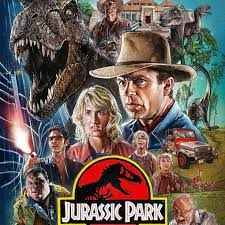 "The cover art for the film ""Jurassic Park"" depicts the leads protagonists narrowly escaping the clutches of the park's most dangerous beast."