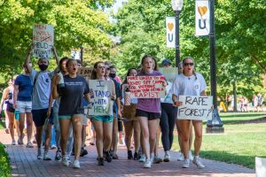 Hundreds of students marched around Hearn Plaza demanding accountability from university administrators.