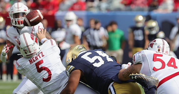 Notre Dame defeated Wisconsin 41-13 on Saturday. Wisconsin quarterback Graham Mertz threw four interceptions and just one touchdown.