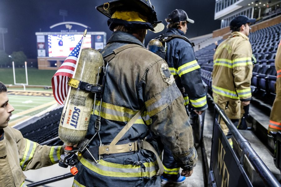Wake Forest and Winston-Salem State University students joined first responders from Forsyth County at Truist Field on Saturday.