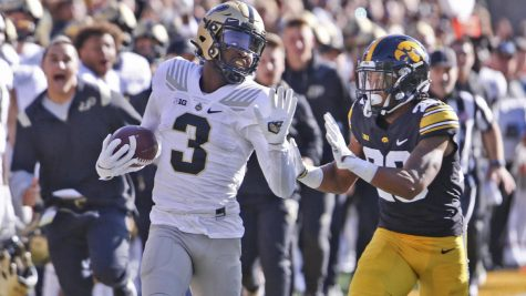 Purdue receiver David Bell breaks free from the Iowa defense.