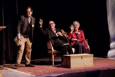 Professor Emeritus Harold Tedford poses on the stage in Scales Fine Arts Center that now bears his name. The beloved theatre professor passed away on Oct. 20.