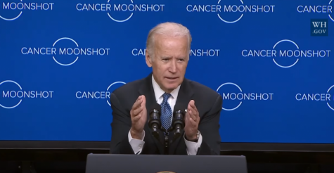 President Joe Biden delivers a press conference for the Cancer Moonshot Initiative, an effort to use governmental resources for cancer research.