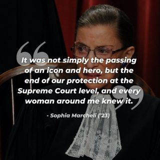 "The passing of Ruth Bader Ginsberg on September 18th was a devastating loss for this country. However, there is one thing that RBG's passing has given us–– the motivation to do our part in this coming election. ""One can only hope that her passing has lit a fire within women everywhere, reminded them of the fragility of their rights and most importantly, reminded everyone how important their voice and their vote will be in November,"" Marcheli writes. Click the link in our bio to read the full opinion piece from Sophia Marcheli ('23). Photo Credit: Roger Wollenberg/Abaca Press/TNS"