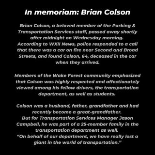"""Brian was a great example of how everyone can have a positive impact on those we served everyday. He found joy in his interaction with staff and students,"" Vice President of Hospitality and Auxiliary Services John Wise said. ""This is truly a sad loss for our campus family."" Click the link in our bio for the full article."